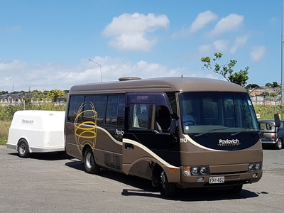 bus hire New Zealand, private charter coach hire with luggage trailer